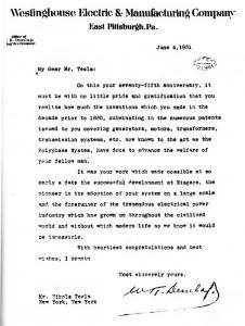 Felicitacion Westinghouse Tesla